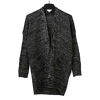 SAYM Women's Twist Pockets School Wear Sweater Loose Long Knit Cardigan D-Grey