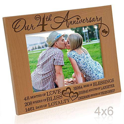 Kate Posh - Our 4th Anniversary Engraved Natural Wood Picture Frame - 4 Years of Marriage 2014 Through 2019, Four Years Together, Wedding for Husband & Wife (4x6 Horizontal)