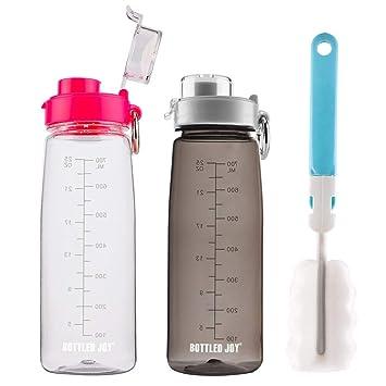 100/%... BOTTLED JOY Sport-Trinkflasche mit Strohhalm und Griff in Flaschen