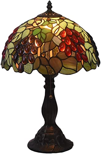 Tiffany Style Table Lamps Grape Desk Light 18 Inches Tall Stained Glass 12 Inches Wide Lamp Shade Vintage Antique Accent Lamp