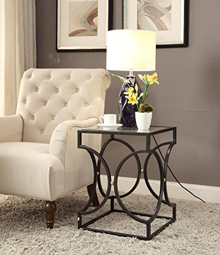 Glass Top Black Metal Side End Table with Circle Design