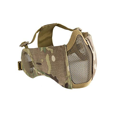 1T 6' Foldable Half Face Airsoft Mesh Mask with Ear Protection, Military...