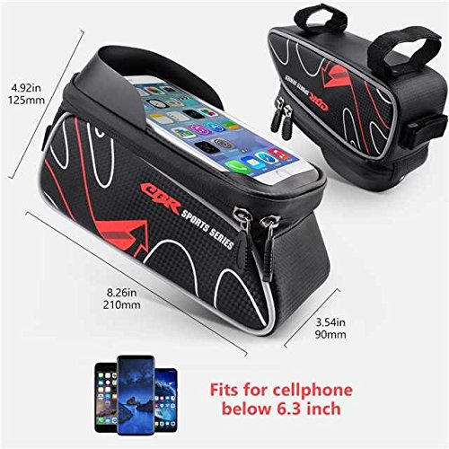 Beusoft Bike Bag Road Mountain Bike Top Tube Front Frame Bag with Waterproof Touch Screen Phone Case for iPhone X 8 7 6s 6 plus 5s 5/Samsung Galaxy s7 s6 note 7 Cellphone Below 6.3 Inch by Beusoft (Image #1)