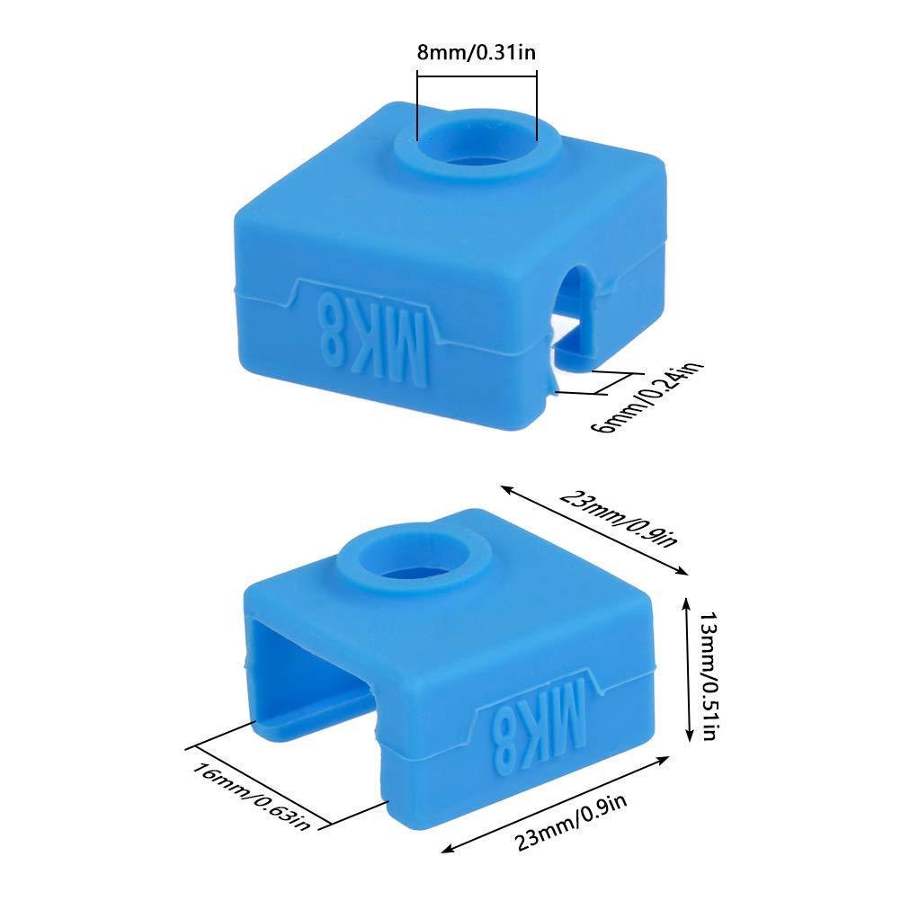 Amacoam Imprimante 3d Couvercle Silicone Coque en Silicone Sock Chauffage Isolation Coque Compatible MK7 MK8 MK9 Hotend pour Ender 3 Creality CR-10 10S S4 S5 Anet A8 Imprimante 3D Accessoires 5 Pi/èces