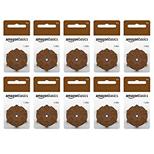Amazon Basics 1.45 Volt Hearing Aid Batteries, Brown Tab – Pack of 60, Size 312
