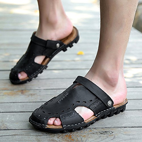 Chickle Casual Sandal Strap Men's Black Leather Stitch 11wBZqr
