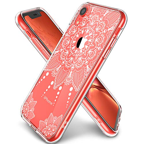 iPhone XR Case Clear, LUHOURI Girls Women Heavy Duty Protective Hard PC Back Case with Slim Soft TPU Bumper Cover Phone Case for iPhone XR, White Flower