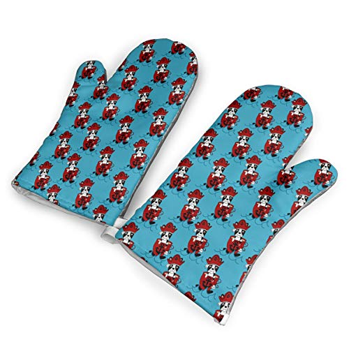 (DRAMA QUEEN Oven Mitts Set Boston Terrier Pirate Advanced Heat Resistant Microwave Non-Slip Oven Mitts for Cooking Baking)