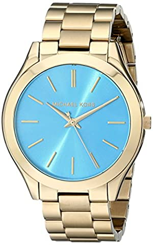 Michael Kors MK3265 Women's Slim Runway Gold-Tone Stainless Steel Bracelet Watch (Watches Michael Kors In Clearance)