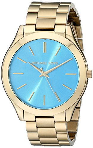 Michael Kors MK3265 Women's Slim Runway Gold-Tone Stainless Steel Bracelet Watch (Slim Runway Stainless Steel Watch)