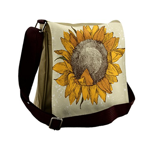 Lunarable Sunflower Messenger Bag, Vintage Grungy Flourish, Unisex Cross-body