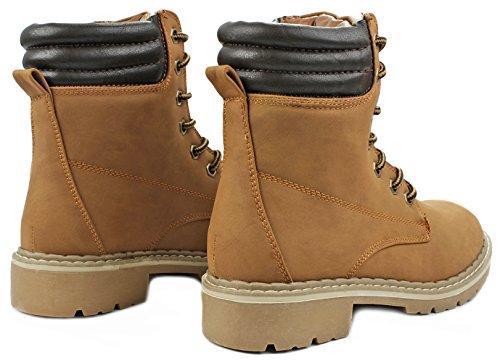 Le Donne Broadway Allacciano Falso Nubuck Imbottito Colletto Alla Caviglia Militare Stivali Da Combattimento Tan