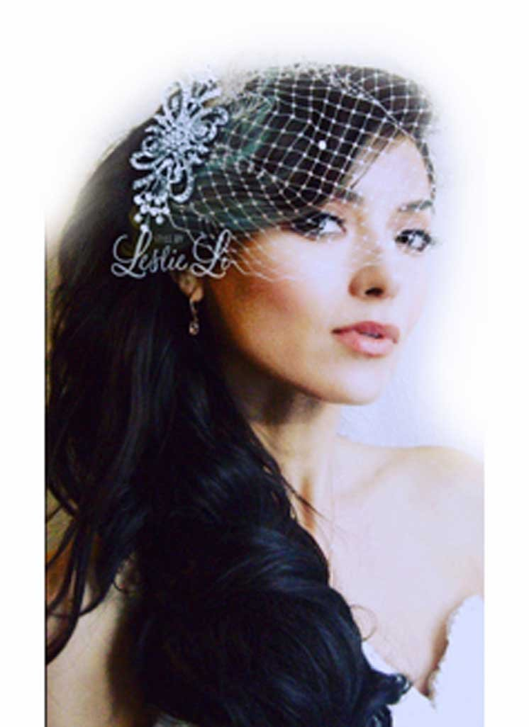 Leslie Li Women's Glorious Ribbons & Swirls Brooch and Petite Bridal Birdcage Veil French Net & Free Styling Tutorials One Size Ivory/Silver 27-525