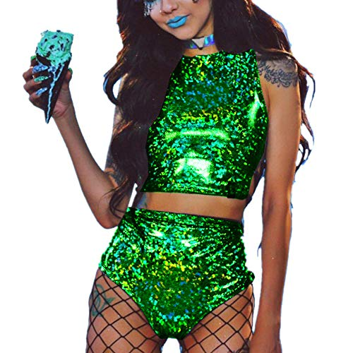 (Women's Rave Clothes Criss Cross Crop Top & Booty Metallic Silver Rave)