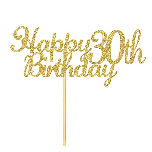 Happy 30th Birthday Cake Topper, Gold Glitter Cheers To 30 Years- Dirty Thirty Cake Topper -Anniversary Party Decoration