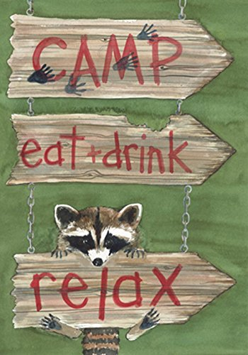 Camp, Eat + Drink Relax Raccoon Garden Flag made our camp flag list of the most awesome camping flag and cool rv flags and camping flags spinners