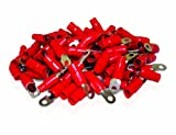 XS Power RT0L-RD-100PK 10.5mm Screw Hole Nickel Finish 0 AWG Crimp Terminal with Red Boot, (Pack of 100)