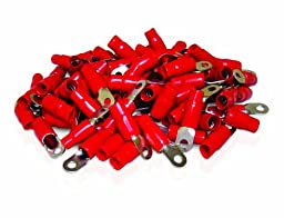 XS Power RT0S-RD-100PK 8.5mm Screw Hole Nickel Finish 0 AWG Crimp Terminal with Red Boot, (Pack of 100)