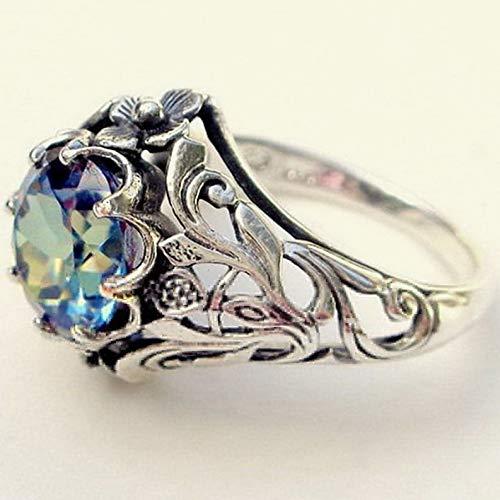 (Waldenn 2.3ct Aquamarine Ring Women Men 925 Silver Wedding Vintage Prom Size 6-10   Model RNG - 14607   6)