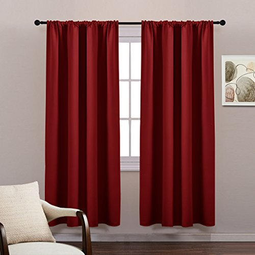 Blackout Curtains Window Drapes Set - Thermal Insulated Rod Pocket Blackout Room Darkening Curtain Panels / Window Treatments for Bedroom by PONY DANCE, 42