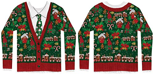 Faux Real Men's Ugly Cardigan with Tie, Multi, Large