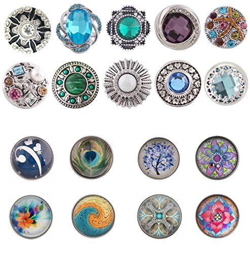 Chunk Bling - Mixed Set of 5 Chunk Snap Charms (Set of 5 Standard Size Snaps) Includes 3 Bling Snaps 2 Glass Dome Snaps