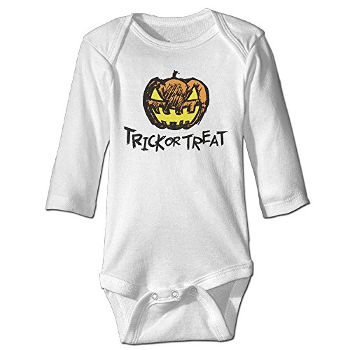 Fashion Baby Boys & Girls Halloween Pumpkin Head And Trick Or Treat Long-sleeve Playsuit