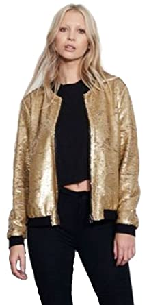 4b486ff72 Cray Girls Womens Ladies Sequin Bomber Jacket Zip up Stylish Party Bling  Baseball Biker Coat Outwear UK 8-18
