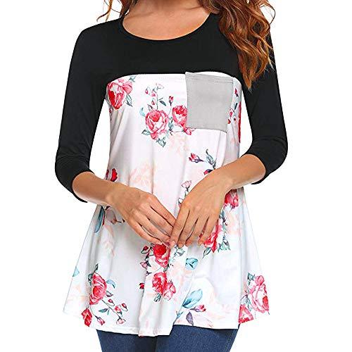 ZEFOTIM Women Casual Floral Printing Patchwork Tunic Shirt Long Sleeve Top Blouse (US-16/CN-XXL,Black) -