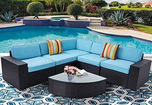 Incbruce Outdoor Patio Furniture Sets 6-Piece Outside Couch Wicker Sectional Sofa, Weatherproof Cover, Patio Garden Conversation Sets and Wedge Table Sets with Seat Cushions, Black and Sky Blue