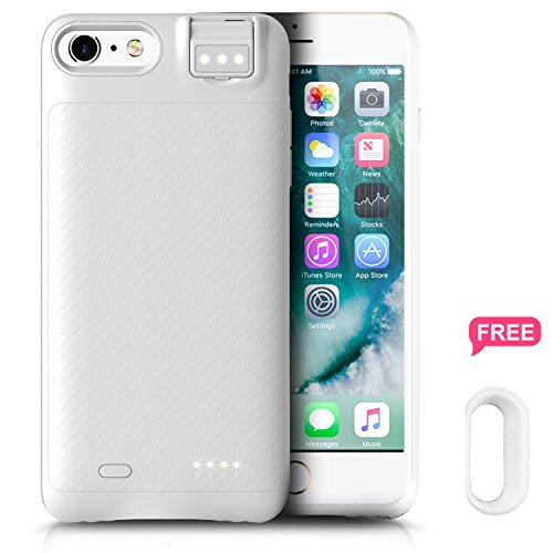 iPhone 8 Plus/7 Plus 6/6s Plus Battery Case, Ronten Charging Case: 3800mAh Ultra Slim iPhone Rechargeable Extended Battery Juice Pack with Fill Light for iPhone 8 Plus 7 Plus 6S Plus 6 Plus (White) from Ronten