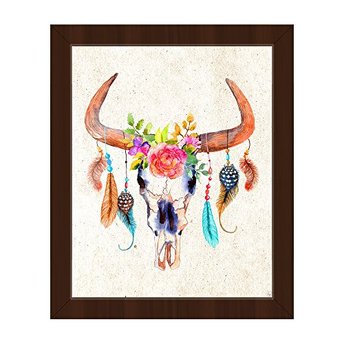 Bull Skull - Light Tan: Southwestern Cow Skull with Feathers, Beads, Flowers, Roses, and Leaves Wreath Painting Wall Art Print on Canvas with Espresso Frame ()