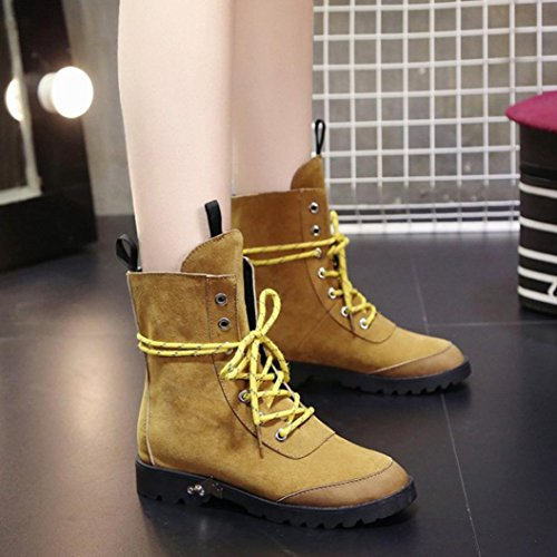 Gillberry Mujer Botas Soft Flat Tobillo Martin Zapatos Suede Leather Lace-up Botas Marrón