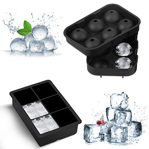 Ice Cube Trays Silicone, Ice Ball Mold Large Ice Cube Molds Reusable and BPA Free Ice Tray for Whiskey Cocktails and Bourbon - 2 Pack