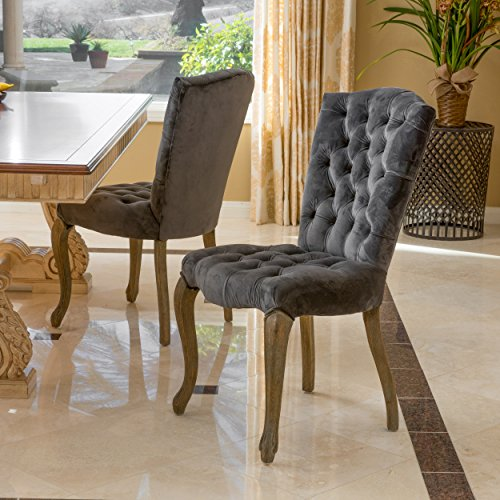Cheap Christopher Knight Home 296554 Moira Velvet Dining Chairs (Set of 2), Charcoal