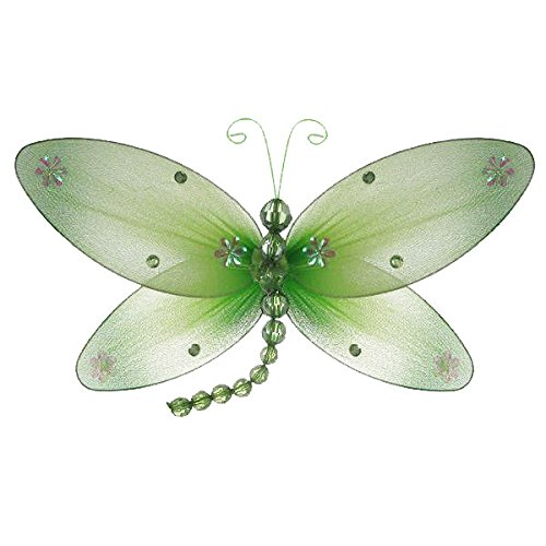 The Butterfly Grove Taylor Dragonfly Decoration 3D Hanging Mesh Organza Nylon Decor, Green Honeydew, Medium, 10x 6