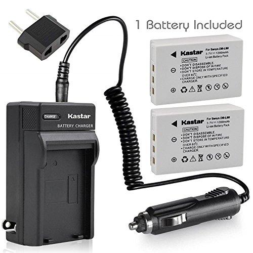 Kastar Battery X2 & AC Travel Charger for Sanyo DB-L90, DB-L90AU, VAR-L90, VAR-L90AU and Sanyo DMX-SH11, DMX-SH11K, DMX-SH11R, VPC-SH1, VPC-SH1BK, VPC-SH1EXBK, VPC-SH1EXR, VPC-SH1GX, VPC-SH1R Cameras