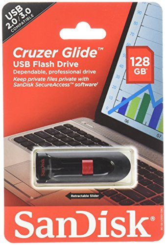 Music Vault Usb (Sandisk Cruzer Glide USB flash drive, 128 GB, Black/Red (SDCZ60-128G-A46))