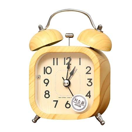 LALLing Grano de Madera Decoración del hogar Mudo Reloj de Mesa ...