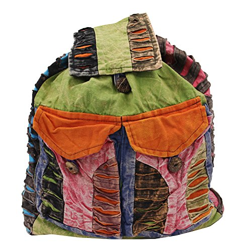 Recycled Hippe Hobo Bohemian Razor Cut Bag Backpack Hand Made Nepal (Backpack 2) by Lungta Imports (Image #1)