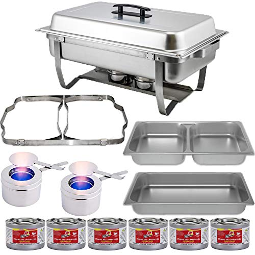 (Chafing Dish Buffet Set w/Fuel - Folding Frame + Divided pan (4qt x 2)+ Full Pan (8 qt) Water Pan + Fuel Holders + 6 Fuel Cans - Full Warmer kit)