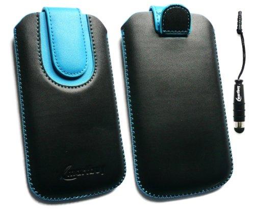 Emartbuy® Stylus Pack Para Huawei Ascend P6 Negro / Azul Pu Del Premio Slide Cuero De La Bolsa / Caja / Manga / Titular (Tamaño 3Xl) Con Mecanismo Pull Tab + Metallic Mini Negro Stylus + Protector De