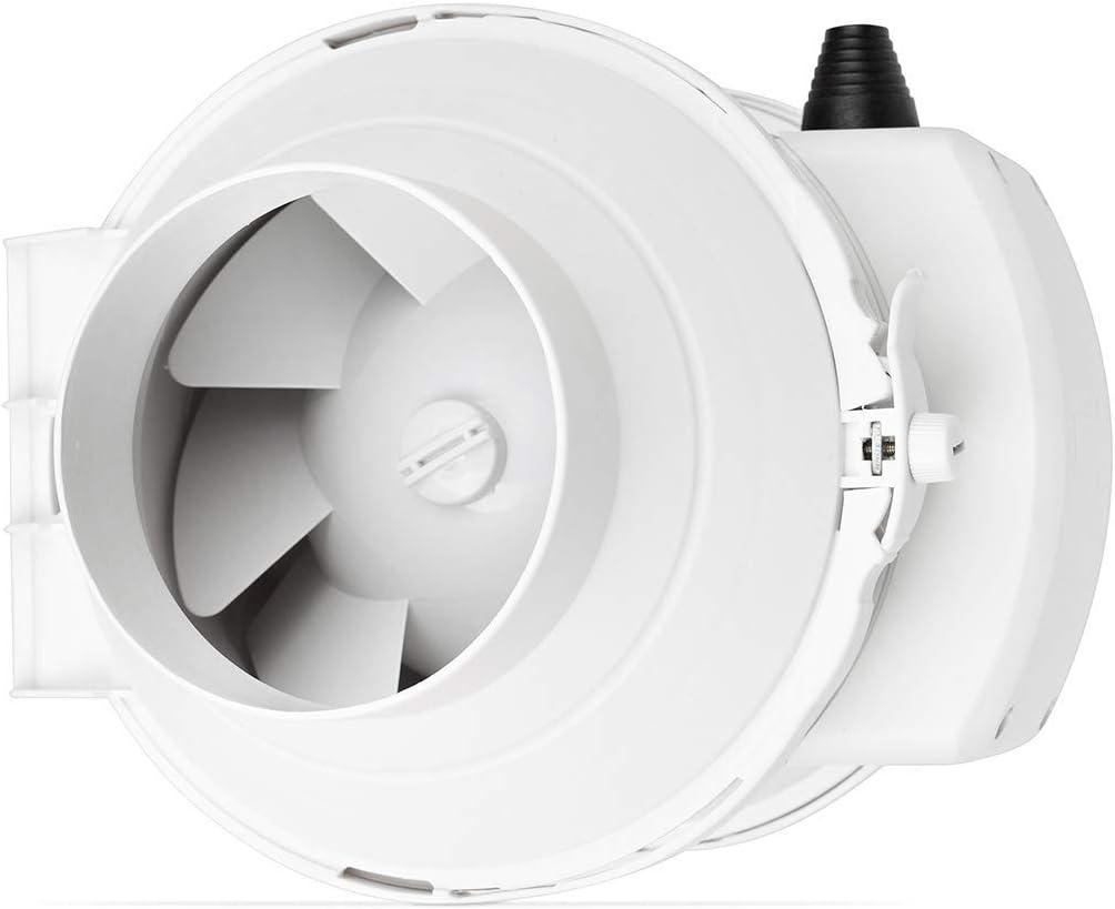 Califlow 125 mm Extractor de Conducto en L/ínea profesional Ventilador de Flujo Mixto 280m/²//h 140 Pa 36 W