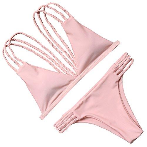 Woman Halter Bikini Swimsuit(Pink) - 3