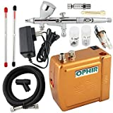3 Tips Dual Action Airbrush Kit 12V Golden Mini Airbrush Compressor Nail Art Cake