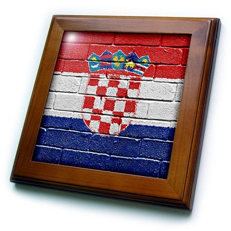 3dRose ft_155212_1 National Flag of Croatia Painted Onto a Brick Wall Croatian-Framed Tile Artwork, 8 by 8-Inch