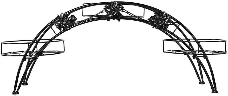 GOTOP Elegante Arco de Hierro para Plantas Interior Soporte para macetas Soporte de exhibici/ón para Exteriores jard/ín decoraci/ón Patio Negro Soporte para 3 macetas de Flores