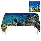 SATVSHOP Square Tablecloth /70x156 Rectangular,Ocean Fairy Underwater with Fish and Source of Oxygen Coral Aquatic Liquid Culture Scenery for Wedding/Banquet/Restaurant.