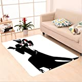 Nalahome Custom carpet Man and Woman Partners Romantic Dance Tango Waltz Lovers in Rhythmic Music Art Print Black White area rugs for Living Dining Room Bedroom Hallway Office Carpet (6.5' X 10')