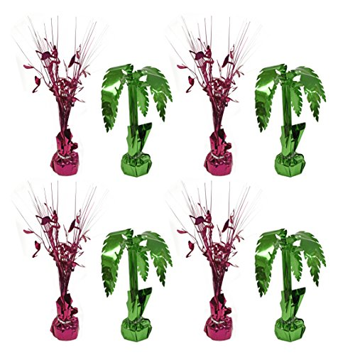 Set of 8 Spray Centerpieces! Flamingo and Palm Tree Themed! Perfect for Luaus BBQs Parties and More!